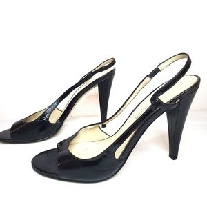 Enzo Angiolini Black Leather Open Toe Pumps
